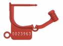 Picture of Numbered Locking Tags Uniquely Numbered - Red, 100/Pkt
