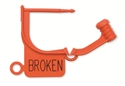 """Picture of Special Colour Locking Tags Orange - With Text, """"BROKEN"""", 100/Pkt"""