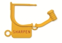 "Picture of Standard Colour Locking Tags Yellow - With Text, ""SHARPEN"", 100/Pkt"