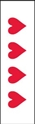 """Picture of Identification Sheet Tape - Patterned White/Red Hearts, 1/4"""" x 374"""""""