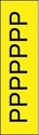 "Picture of Identification Sheet Tape - Patterned Yellow/Black Letter P, 1/4"" x 374"""