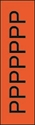 "Picture of Identification Sheet Tape - Patterned Flourescent Orange/Black Letter P, 1/4"" x 374"""