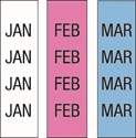 "Picture of Identification Sheet Tape - Patterned White,Pink,Light Blue/Black JAN,FEB,MAR, 1/4"" x 374"""