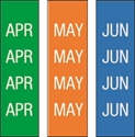 """Picture of Identification Sheet Tape - Patterned Green,Orange,Blue/White APR,MAY,JUN, 1/4"""" x 374"""""""
