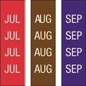 "Picture of Identification Sheet Tape - Patterned Red,BrownPurple/White JUL,AUG,SEP, 1/4"" x 374"""