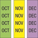 "Picture of Identification Sheet Tape - Patterned Lime Green,Yellow,Lavender/Black OCT,NOV,DEC, 1/4"" x 374"""